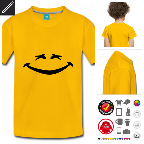 blaues Lustiges Smiley T-Shirt personalisieren