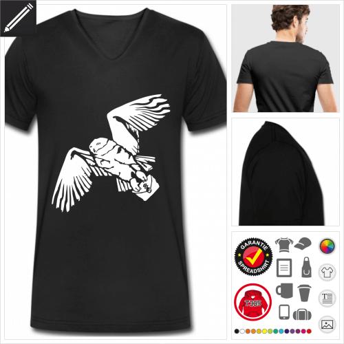 Eule T-Shirt für Männer online Druckerei, höhe Qualität