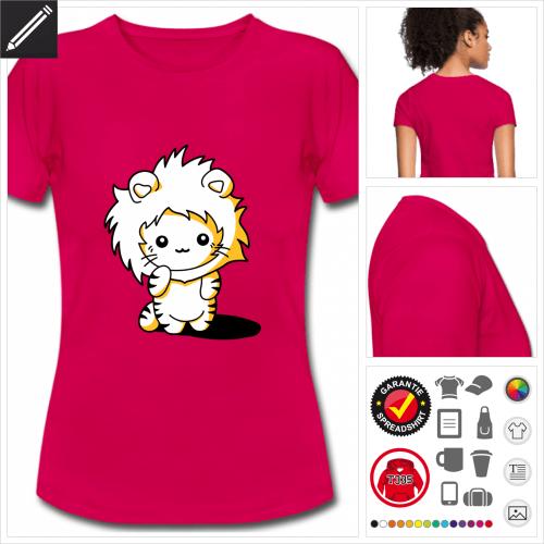 rosa Kätzchen Kapuze T-Shirt selbst gestalten. Druck ab 1 Stuck
