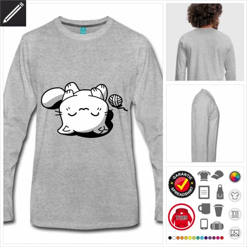 Schlafendes Kätzchen T-Shirt online Druckerei, höhe Qualität
