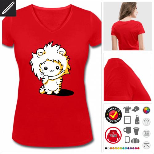 rotes Lustige Katze T-Shirt personalisieren