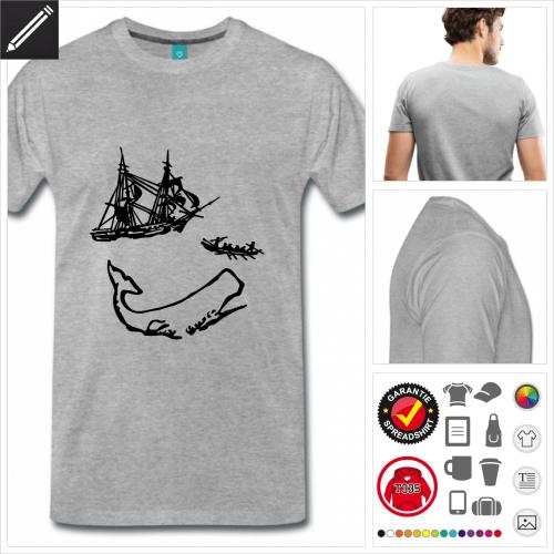 graues Literatur T-Shirt selbst gestalten. Online Druckerei