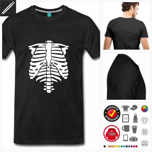 Männer Halloween Skelett T-Shirt personalisieren