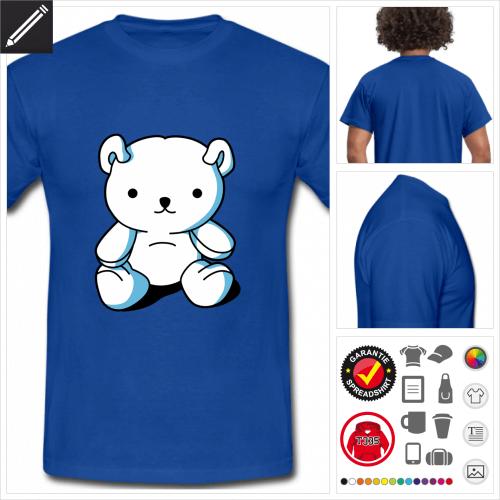 blaues Lustiger Teddybär T-Shirt gestalten, Druck ab 1 Stuck