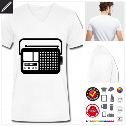 blaues Radiogerät T-Shirt gestalten, Druck ab 1 Stuck