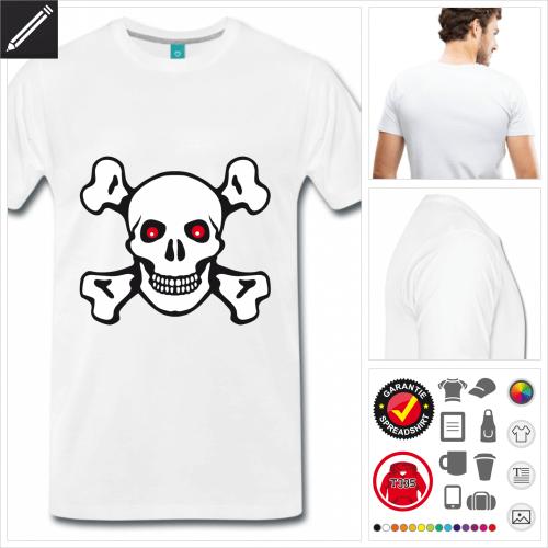 weisses Piraten Totenkopf T-Shirt online zu gestalten