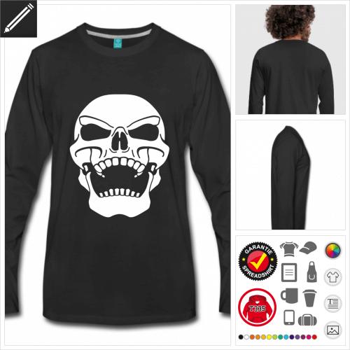 schwarzes Piratenflagge T-Shirt online Druckerei, höhe Qualität