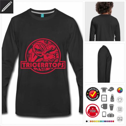 Triceratops Langarmshirt selbst gestalten. Druck ab 1 Stuck