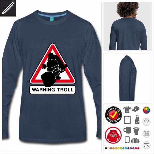Männer Troll Verkehrsschild T-Shirt selbst gestalten. Online Druckerei