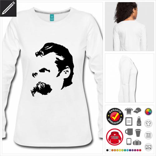 Nietzsche Langarmshirt selbst gestalten. Druck ab 1 Stuck