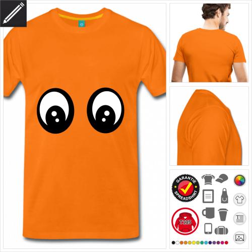 oranges Lustiges Smiley T-Shirt selbst gestalten. Online Druckerei