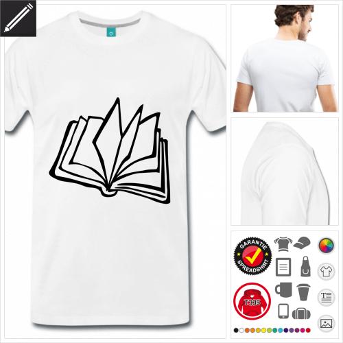 oranges Buch T-Shirt selbst gestalten. Online Druckerei