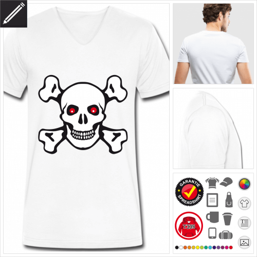 Männer Piratenflagge T-Shirt selbst gestalten. Druck ab 1 Stuck