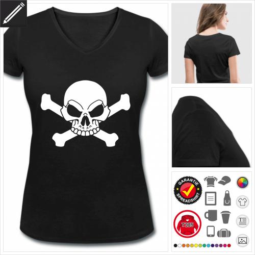 Frauen Piraten Schädel T-Shirt online Druckerei, höhe Qualität