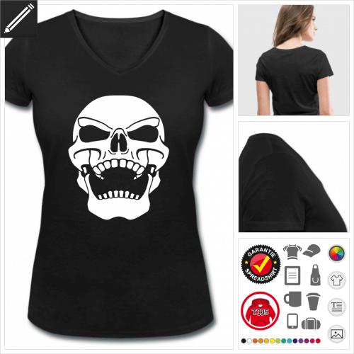 Frauen Schädel T-Shirt online Druckerei, höhe Qualität