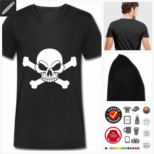 Piratenflage Kurzarmshirt selbst gestalten. Druck ab 1 Stuck