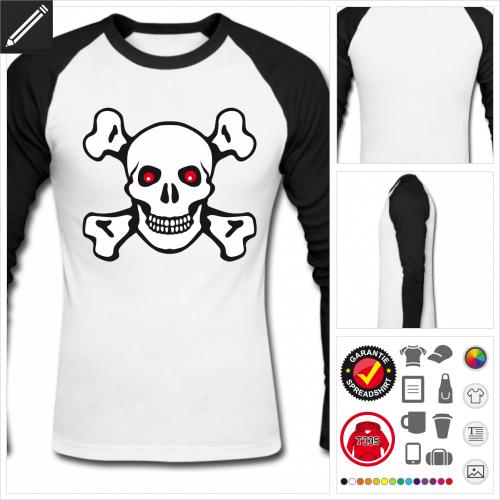 baseball Piratenflagge T-Shirt online Druckerei, höhe Qualität