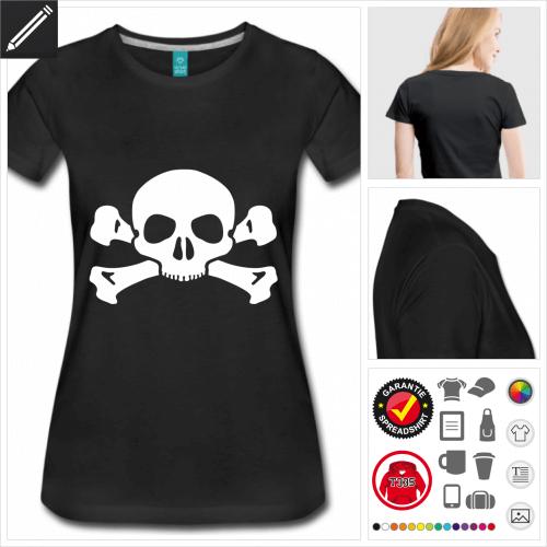 Frauen Schädel T-Shirt selbst gestalten. Online Druckerei