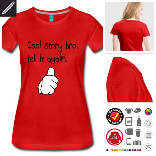 rotes Witzige Sprüche T-Shirt selbst gestalten. Druck ab 1 Stuck