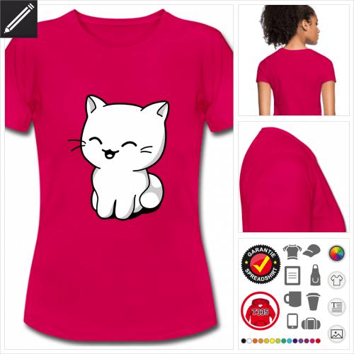 Frauen Kätzchen T-Shirt online gestalten