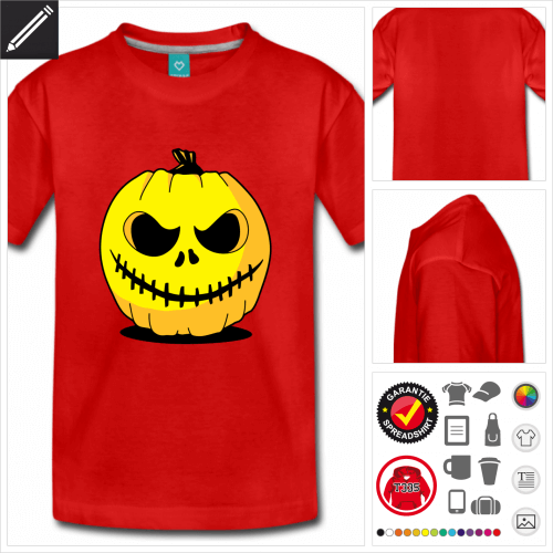 Teenager Kürbis T-Shirt selbst gestalten. Online Druckerei