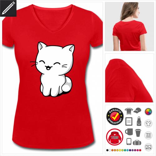 basic Kätzchen lachend T-Shirt gestalten, Druck ab 1 Stuck