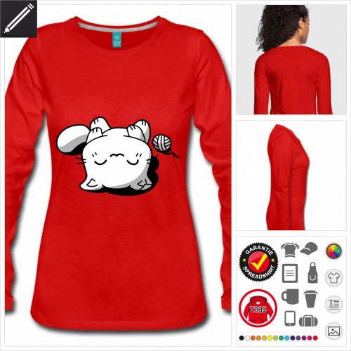 Frauen schlafendes Kätzchen T-Shirt online zu gestalten