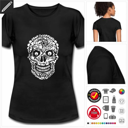 Frauen Schädel T-Shirt online gestalten