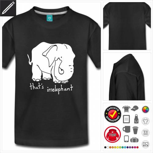 blaues Elefant T-Shirt selbst gestalten. Online Druckerei