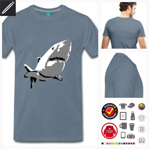Weißer Hai T-Shirt basic selbst gestalten. Druck ab 1 Stuck