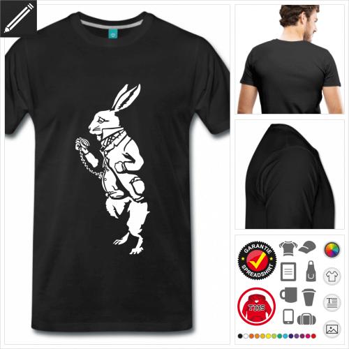 basic Weißes Kaninchen T-Shirt online Druckerei, höhe Qualität