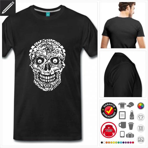 schwarzes Totenkopf T-Shirt gestalten, Druck ab 1 Stuck
