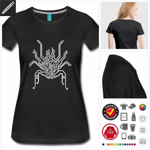 schwarzes Spinne T-Shirt zu gestalten