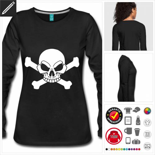 schwarzes Totenkopf T-Shirt online gestalten