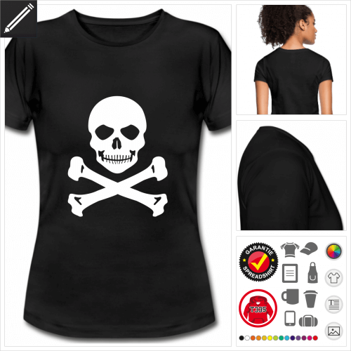 Piratenflagge Kurzarmshirt selbst gestalten. Druck ab 1 Stuck