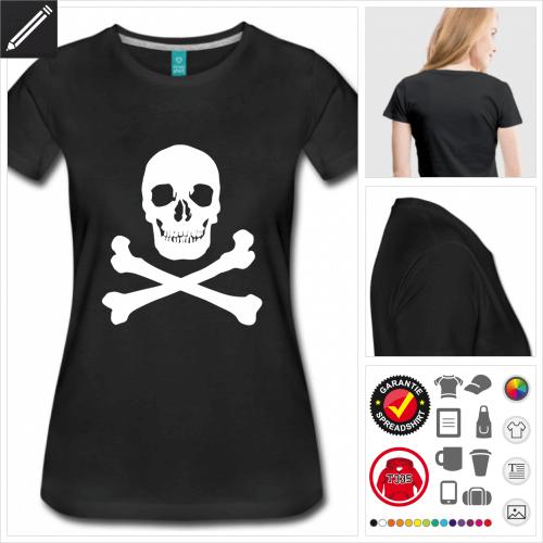 Frauen Schädel T-Shirt online zu gestalten