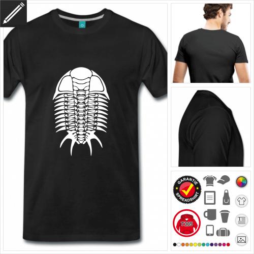 schwarzes Skelett T-Shirt gestalten, Druck ab 1 Stuck