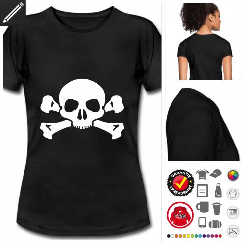 Totenkopf Kurzarmshirt online gestalten