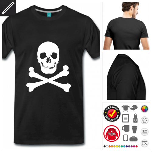 Männer Piratenflagge T-Shirt gestalten, Druck ab 1 Stuck