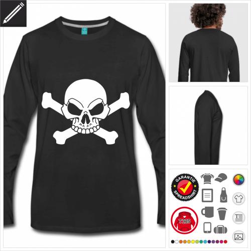 Piraten Schädel T-Shirt selbst gestalten. Druck ab 1 Stuck