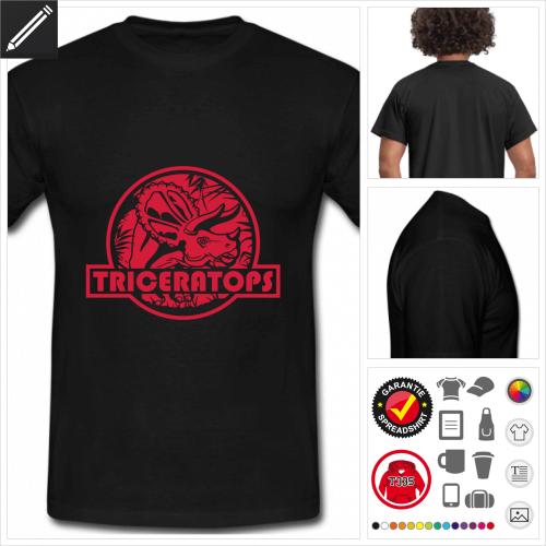 schwarzes Triceratops Logo T-Shirt zu gestalten