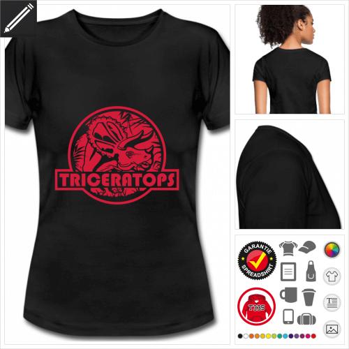 schwarzes Triceratops T-Shirt selbst gestalten. Online Druckerei