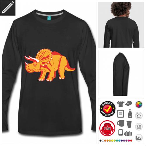 schwarzes Dinosaurier T-Shirt selbst gestalten