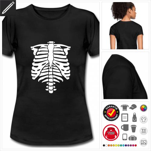 schwarzes Skelett T-Shirt selbst gestalten. Druck ab 1 Stuck