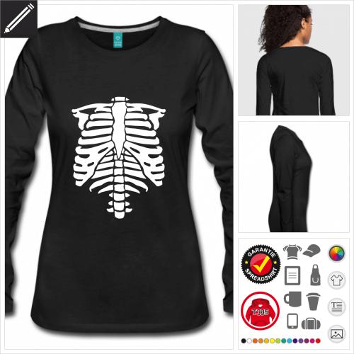 schwarzes Halloween T-Shirt selbst gestalten. Online Druckerei
