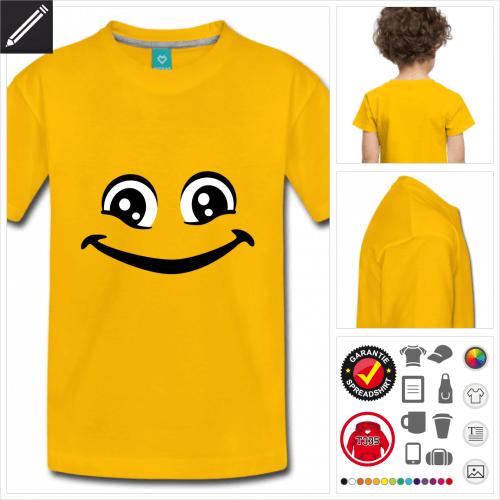 Lustiges Smiley Kurzarmshirt selbst gestalten. Druck ab 1 Stuck