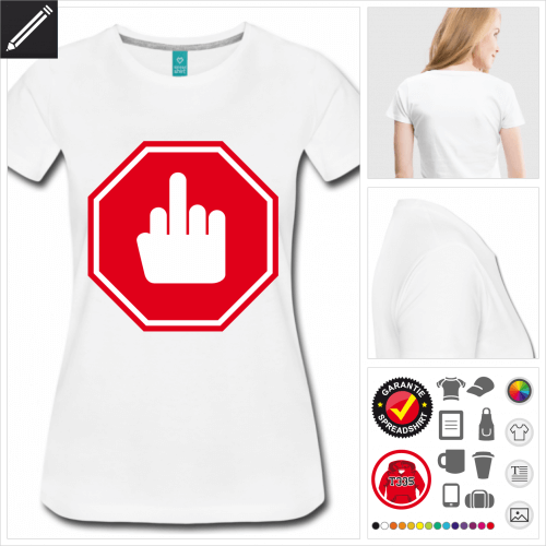 Frauen Mittelfinger T-Shirt online gestalten