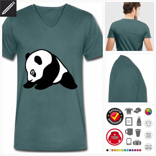 Pandas Kurzarmshirt online Druckerei, höhe Qualität