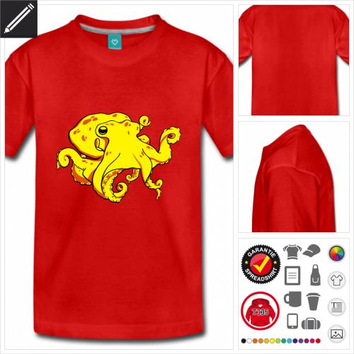rotes Oktopus T-Shirt selbst gestalten
