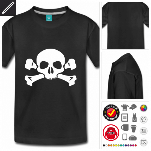 rotes Totenkopf T-Shirt personalisieren
